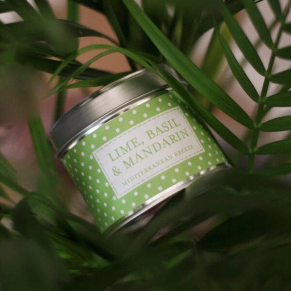Świeca zapachowa The Country Candle Lime, Basil, Mandarin aranżacja